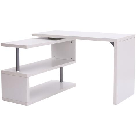 Bureau informatique table informatique modulable avec bibliothèque adjacente design contemporain mélaminé métal chromé blanc