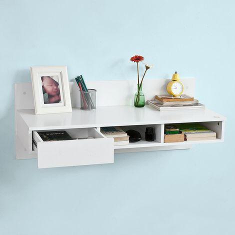 Bureau informatique Table murale Table de cuisine avec 1 tiroir et 2 compartiments ouverts -Blanc FWT30-W SoBuy®