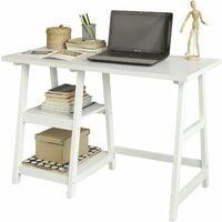 Bureau informatique Table Plan de travail avec 2 étagères -Blanc FWT16-W SoBuy®