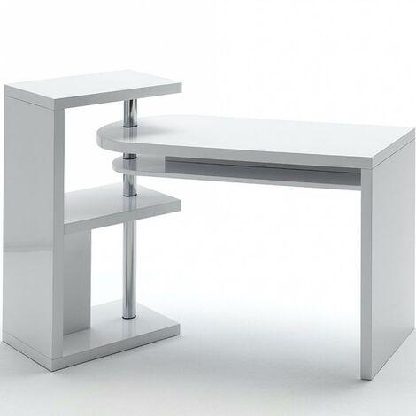 Bureau modulable MADIRAN blanc brillant avec étagère 3 tablettes - blanc