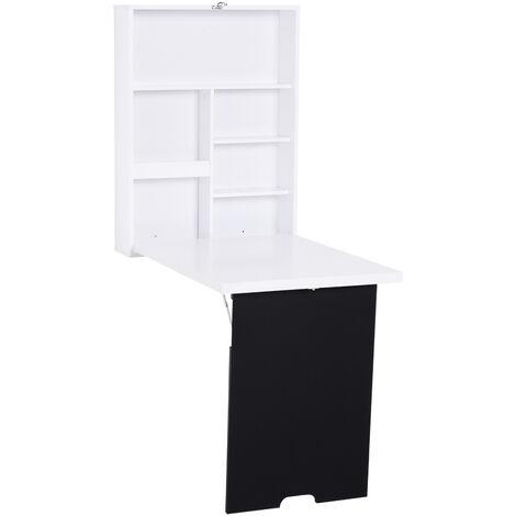 Bureau mural pliable table murale rabattable suspendue sur pied étagère + tableau à craie intégré MDF blanc