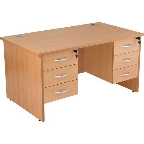 Bureau rectangulaire avec 2 x 3 tiroirs | piétement panneau | LxP 1600 x 800 mm | Hêtre | Karbon K1 | Certeo - Hêtre
