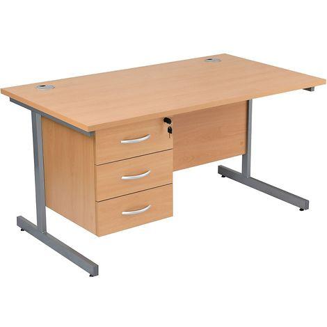 Bureau rectangulaire avec 3 tiroirs | piétement en C | LxP 1200 x 800 mm | Pieds argentés | Hêtre | Karbon K1 - Hêtre