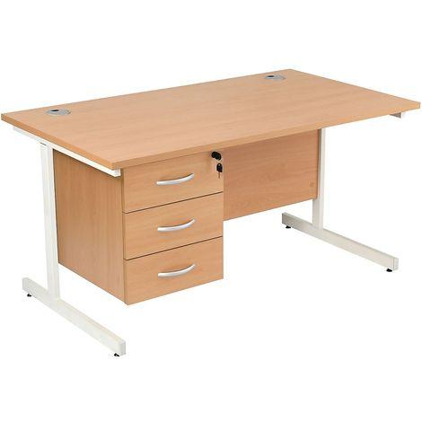 Bureau rectangulaire avec 3 tiroirs | piétement en C | LxP 1800 x 800 mm | Pieds blancs | Hêtre | Karbon K1 - Hêtre