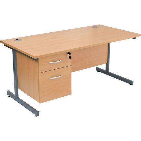 Bureau rectangulaire avec 3 tiroirs | piétement en C | LxP 1800 x 800 mm | Pieds graphite | Hêtre | Karbon K1 - Hêtre