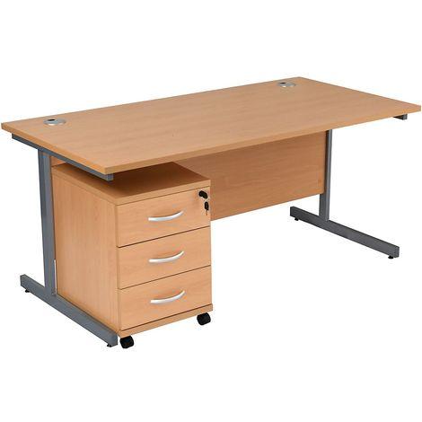 Bureau rectangulaire avec caisson 3 tiroirs | piétement en C | LxP 1200 x 800 mm | Pieds graphite | Hêtre | Karbon K1 - Hêtre