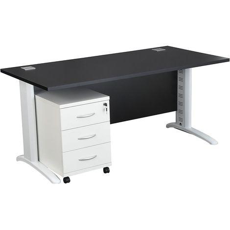 Bureau rectangulaire avec passe-câbles et caisson en bois 3 tiroirs (Blanc)   LxPxH 1200 x 800 x 730 mm   Pieds argentés - Noir
