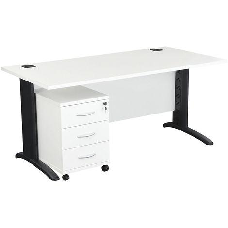 Bureau rectangulaire avec passe-câbles et caisson en bois 3 tiroirs (Blanc) | LxPxH 1200 x 800 x 730 mm | Pieds graphite - Blanc