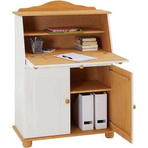 Bureau secrétaire DAVID avec abattant rangement plusieurs étagères 2 portes plan de travail rabattable, en pin massif blanc et brun