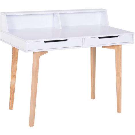 Bureau secrétaire style scandinave 107L x 55l x 92H cm multi-rangements bois naturel blanc