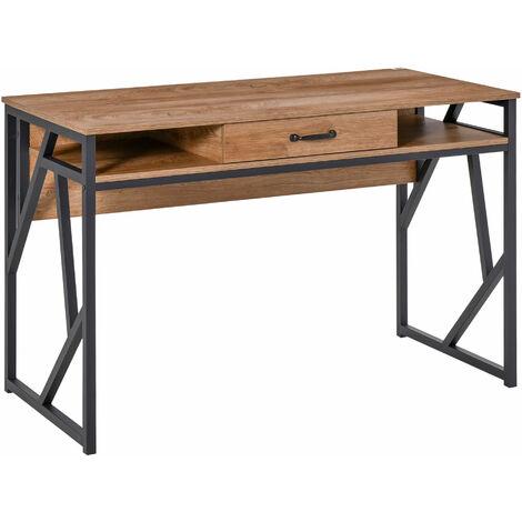 Bureau style industriel dim. 120L x 60l x 76H cm tiroir + 2 niches piètement métal noir plateau aspect bois noyer
