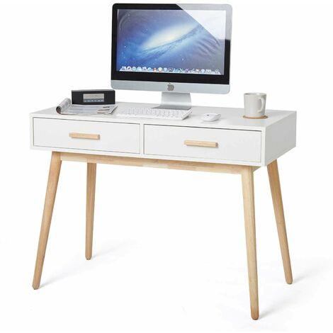 """main image of """"Bureau, Table Informatique,table de Bureau, Style Scandinave avec 2 Tiroirs, en bois, blanc - Meerveil"""""""