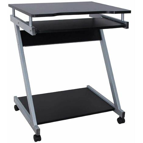 Bureau table meuble informatique travail avec tablette clavier et roulettes noir - Noir