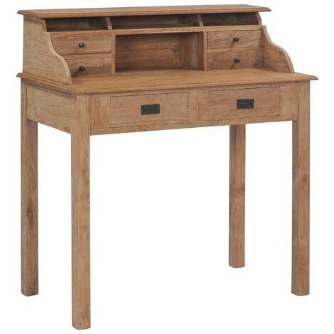 Bureau table meuble travail informatique 100 cm bois de teck massif