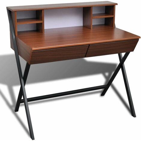 Bureau table meuble travail informatique d'ordinateur avec 2 tiroirs
