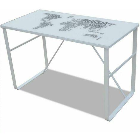 Bureau table meuble travail informatique rectangulaire avec motif de carte du monde