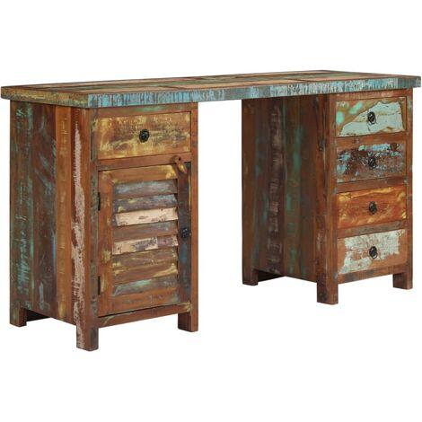 Bureau table meuble travail informatique sur pieds bois de récupération  massif 140 cm