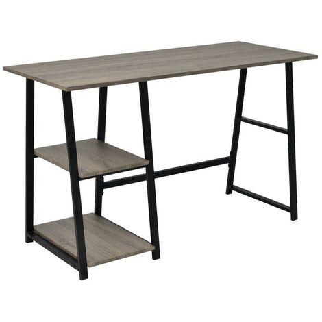Bureau table meuble travail informatiqueavec 2 étagères gris et chêne
