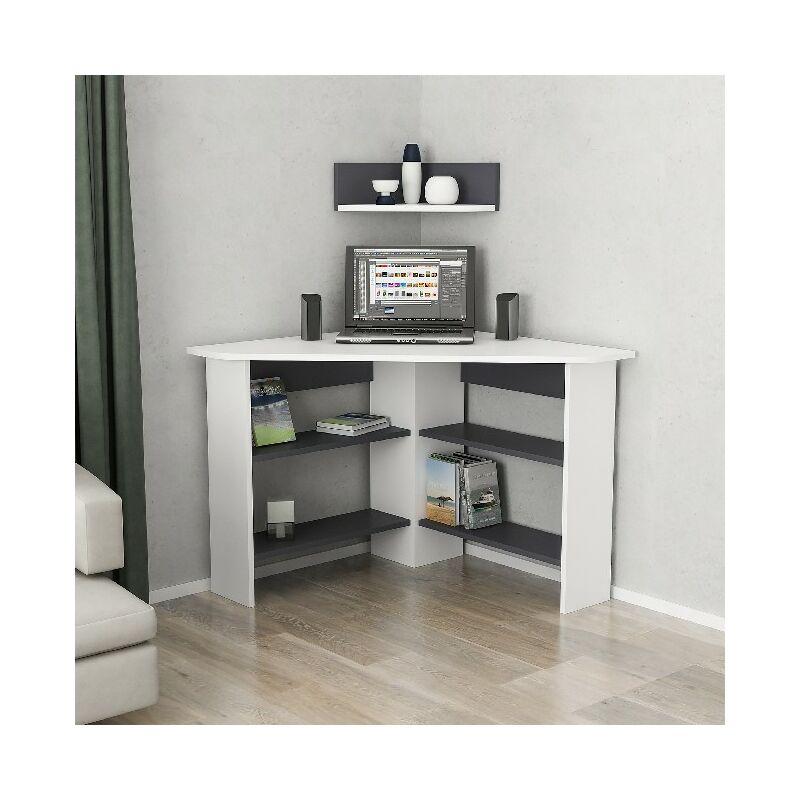 Bureau Tuzzy Angulaire Compacte avec etageres - pour Bureau, Chambre -  Blanc, Anthracite en Bois, 10 x 10 x 10 cm
