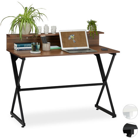 bureau,avec support supplémentaire, tiroirs,Table pour bureau 90 x 110 x 55 cm, reflets bois , noir