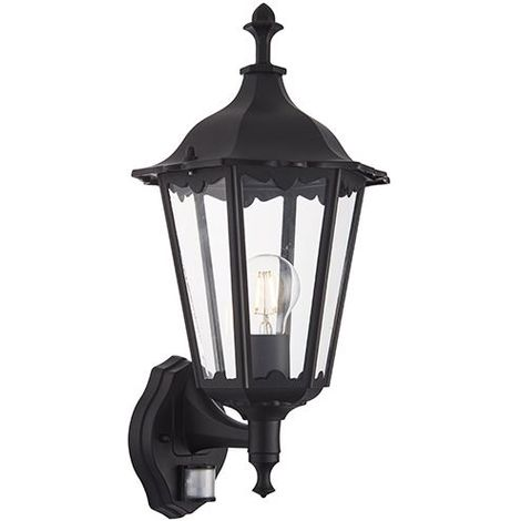 Burford 1Lt Outdoor Security Wall Light Photocell & PIR IP44 60W - Matt Black