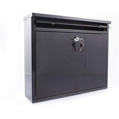 Burg Wachter MB02BK Black Elegance Wall Mounted Galvanised Steel Lockable Weatherproof Post Box, 36x31x10cm