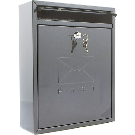 Burg Wachter MB05A Compact Wall Mounted Galvanised Steel Postbox, Anthracite 26x33x9cm