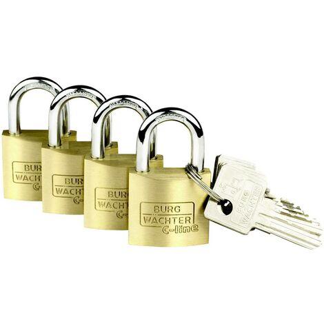Burg Wächter 4er Set Set Quadro 222 30 SB Vorhängeschloss Messing Schlüsselschloss S941811