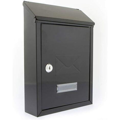 Burg Wächter Avon Rear Entry Wall Mounted Galvanised Steel Lockable Weatherproof Post Box - black - 21x30x7cm