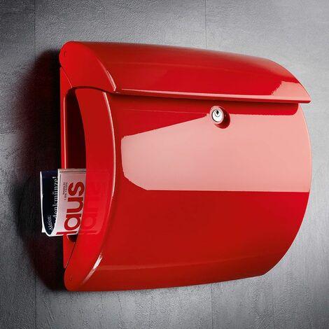 Burg Wächter Briefkasten Piano 886 rot mit Klavierlack-Optik