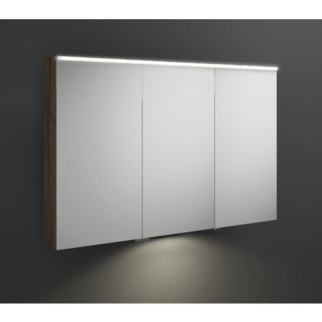 Burgbad Eqio mirror cabinet with horizontal LED lighting and LED washbasin lighting, middle door hinge left SPGT120R, width: 1200mm, corpus: Chestnut Decor Truffle - SPGT120RF2012