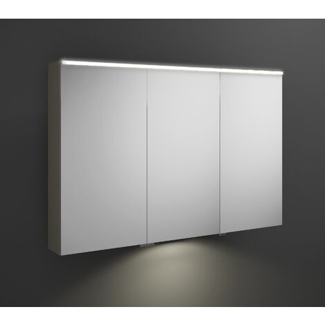 Burgbad Eqio mirror cabinet with horizontal LED lighting and LED washbasin lighting, middle door hinge left SPGT120R, width: 1200mm, corpus: Grey high gloss - SPGT120RF2010