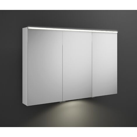 Burgbad Eqio mirror cabinet with horizontal LED lighting and LED washbasin lighting, middle door hinge left SPGT120R, width: 1200mm, corpus: High gloss white - SPGT120RF2009