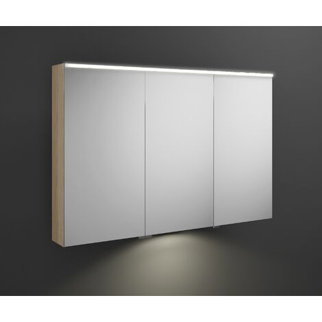 Burgbad Eqio mirror cabinet with horizontal LED lighting and LED washbasin lighting, middle door hinge left SPGT120R, width: 1200mm, corpus: Oak Decor Cashmere - SPGT120RF3180