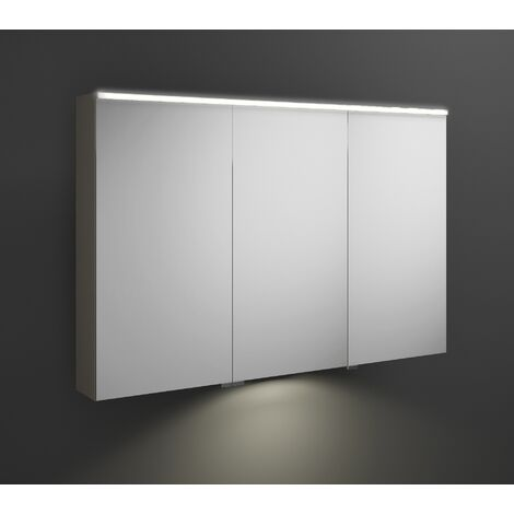 Burgbad Eqio mirror cabinet with horizontal LED lighting and LED washbasin lighting, middle door hinge right SPGT120L, width: 1200mm, corpus: Grey high gloss - SPGT120LF2010