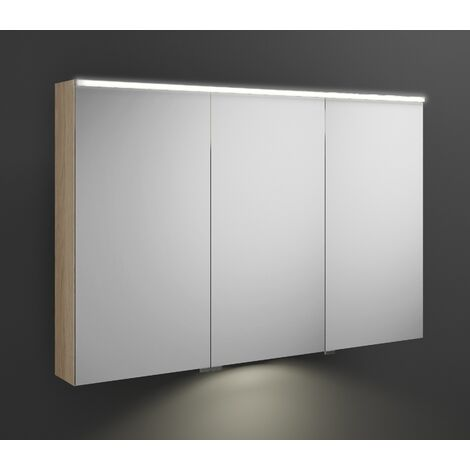Burgbad Eqio mirror cabinet with horizontal LED lighting and LED washbasin lighting, middle door hinge right SPGT120L, width: 1200mm, corpus: Oak Decor Cashmere - SPGT120LF3180
