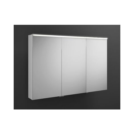 Burgbad Eqio mirror cabinet with horizontal LED lighting, middle door hinge left SPGS120R, width: 1200mm, corpus: High gloss white - SPGS120RF2009