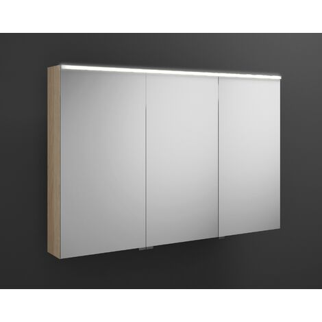Burgbad Eqio mirror cabinet with horizontal LED lighting, middle door hinge left SPGS120R, width: 1200mm, corpus: Oak Decor Cashmere - SPGS120RF3180