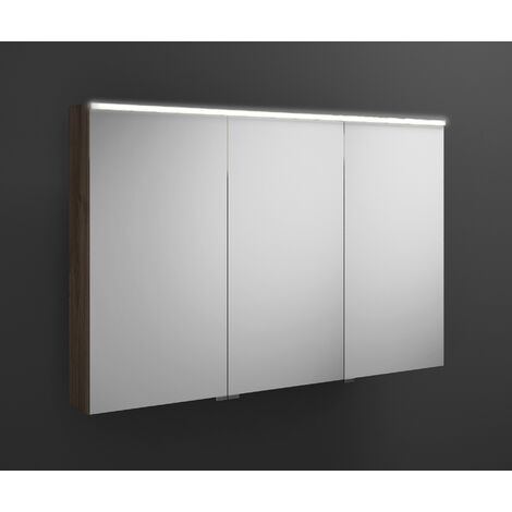 Burgbad Eqio mirror cabinet with horizontal LED lighting, middle door hinge right SPGS120L, width: 1200mm, corpus: Chestnut Decor Truffle - SPGS120LF2012
