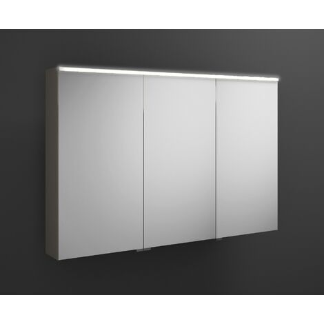 Burgbad Eqio mirror cabinet with horizontal LED lighting, middle door hinge right SPGS120L, width: 1200mm, corpus: Grey high gloss - SPGS120LF2010