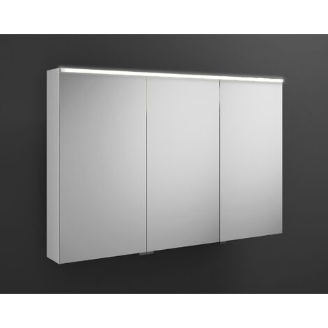 Burgbad Eqio mirror cabinet with horizontal LED lighting, middle door hinge right SPGS120L, width: 1200mm, corpus: High gloss white - SPGS120LF2009