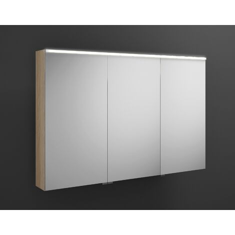 Burgbad Eqio mirror cabinet with horizontal LED lighting, middle door hinge right SPGS120L, width: 1200mm, corpus: Oak Decor Cashmere - SPGS120LF3180