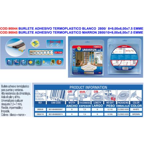 BURLETE ADHESIVO TERMOPLASTICO BLANCO 2800/ 8=9,00x6,00x7.5 EMME