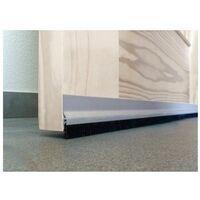 Burlete Bajo Puerta 092Cm Adhesivo Cepillo Aluminio Plata Burcasa