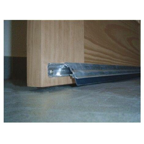 Burlete Bajo Puerta 093Cm Tornillos Interior/Exterior Cepillo Aluminio Plata Basculante Burcasa
