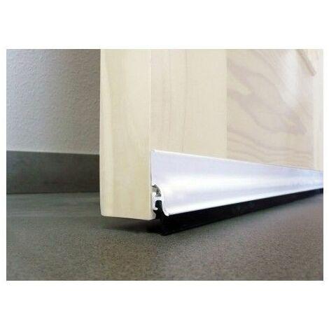 Burlete Bajo Puerta 105Cm Adhesivo Labio Aluminio Blanco Burcasa