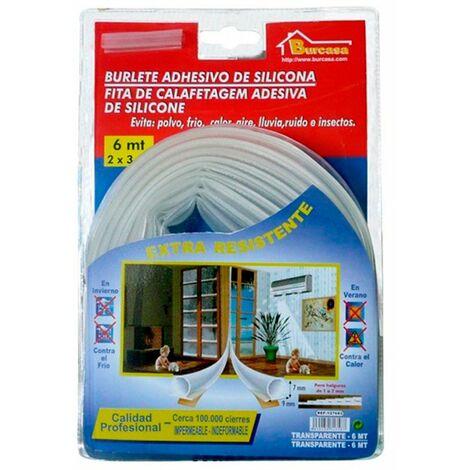 Burlete de silicona 6m para bajo puerta Color TRANSPARENTE