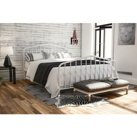 """main image of """"Bushwick White Metal Bed 4ft6 Double 135 x 190 cm By Dorel"""""""
