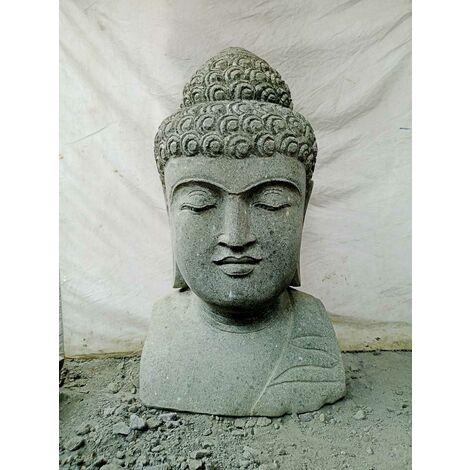 Buste Bouddha en pierre jardin zen 70 cm