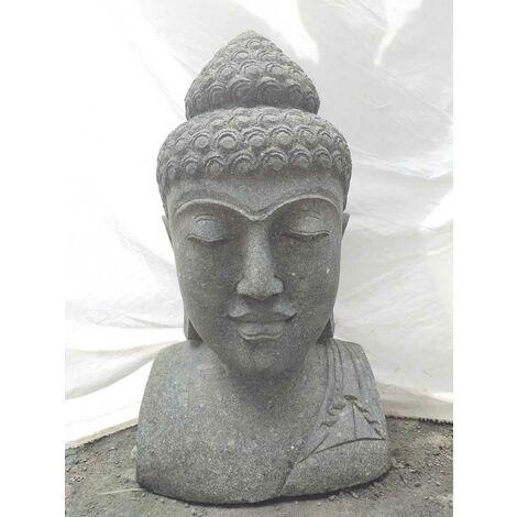 Busto de Buda de piedra volcánica decoración zen 70 cm